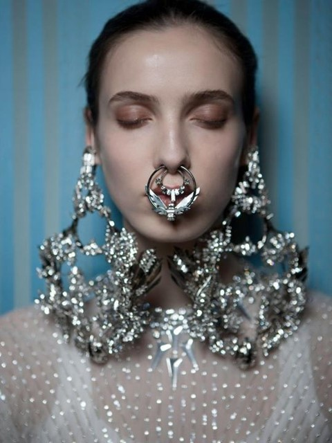 Nose piercings at Givenchy Couture
