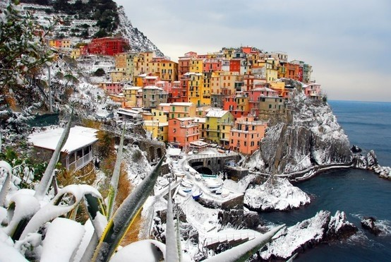 colourful houses in Manarola, Italy