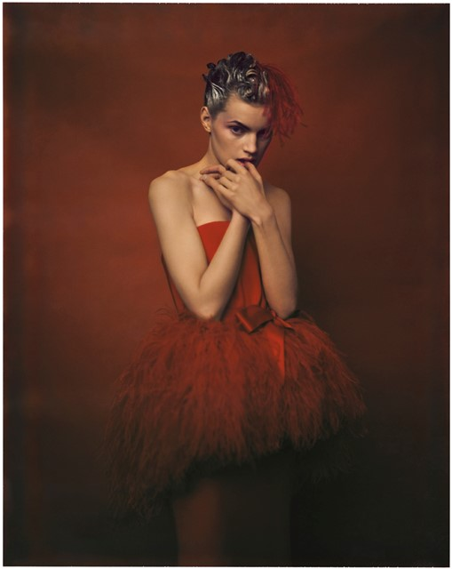 Guinevere in red dress by YSL, Paris