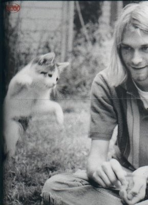 Kurt Cobain Playing With Cat