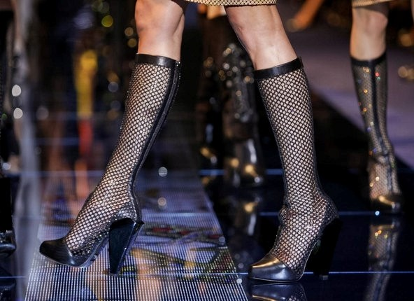 VERSACE FISHNET BOOTS FALL/WINTER 2012