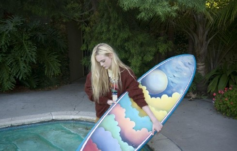 Elle Fanning's surf board photographed by Bill Owens