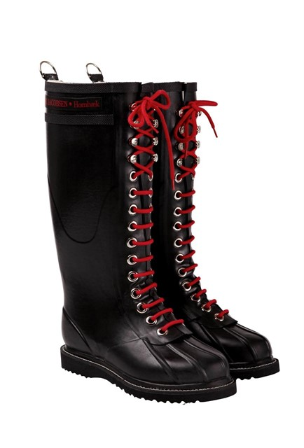 Ilse Jacobsen | Hornbaek red lace-up wellies in black