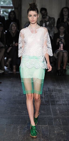 Lace shirt, sheer skirt from Simone Rocha S/S12