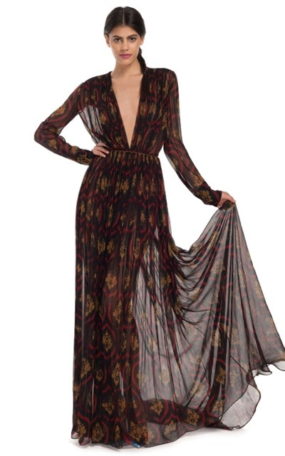 Sophie Théallet Distressed Print Chiffon Gown