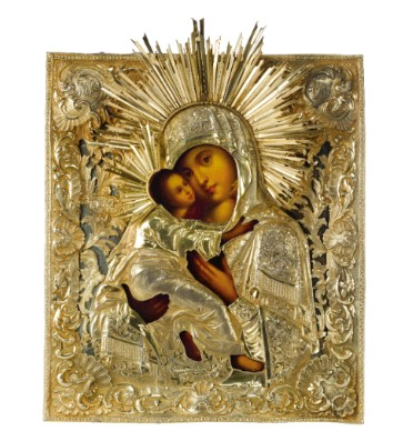 Russian Icon of 'The Vladimir Mother of God' with gilded Silver Oklad