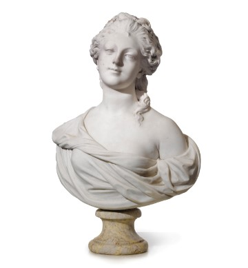French Marble Bust of Noblewoman, in the manner of Jean-Baptiste Pigalle (1741-1785) Late 19th Cn
