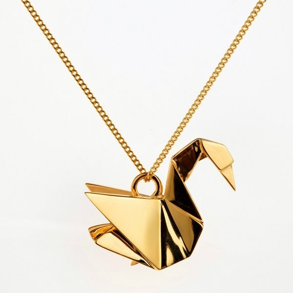 Swan gold necklace by Origami Jewelry via Boticca
