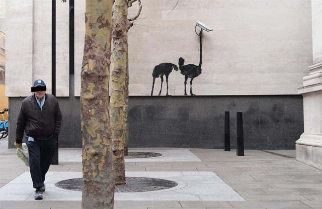 "Banksy ""Ostrich CCTV"" in London"