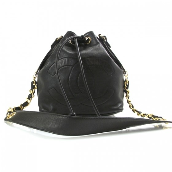 Chanel vintage lambskin drawstring bag