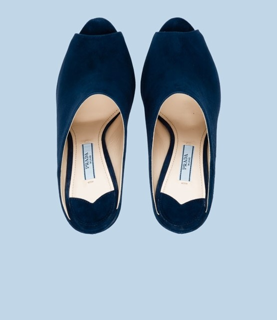 Prada, Suede Open-Toe Mule in Ultramarine Blue