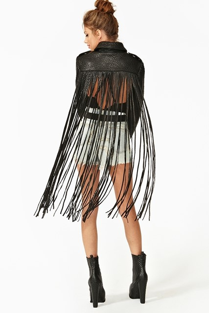 Nasty Gal Leather Fringe Moto Jacket