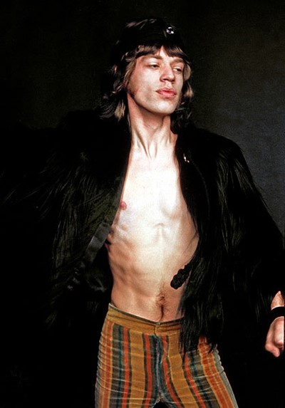 Mick Jagger in Monkey Fur coat
