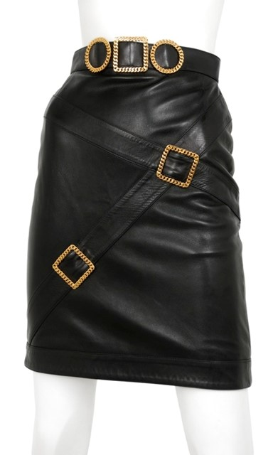 Chanel leather buckle skirt