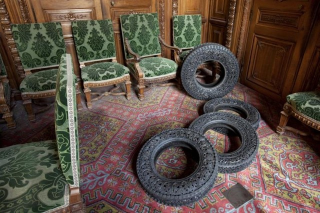Hand-carved car tyre, Wim Delvoye (2011)