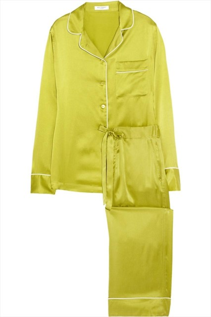 Avery brushed-silk pajama set in Citron by Equipment