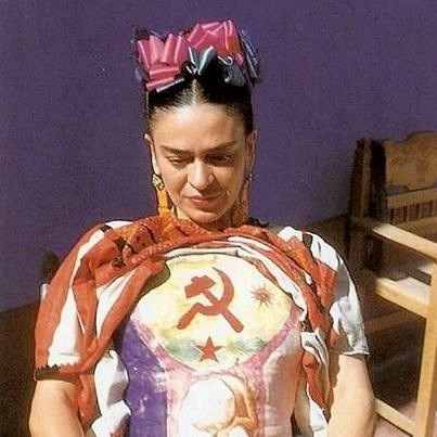 Frida Kahlo wearing a cast that she painted Coyoacán, Mexico 1941