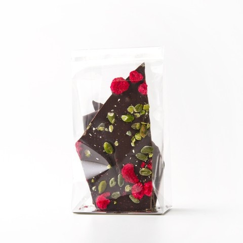 Dark chocolate, pistachio and raspberry brittle by Ottolenghi