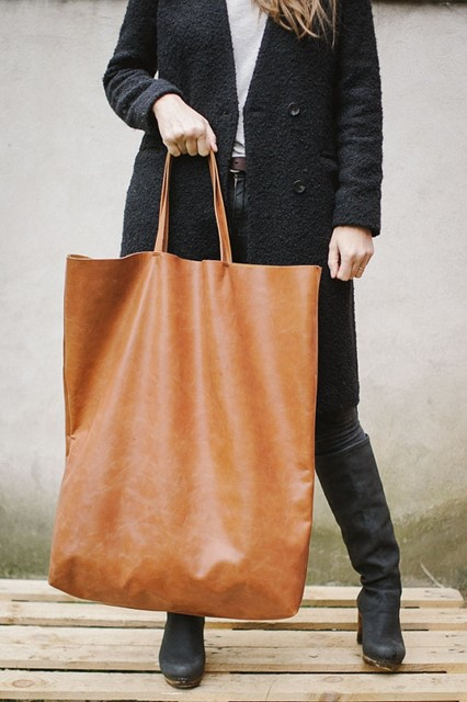 Brown Leather Tote Bag, Oversized