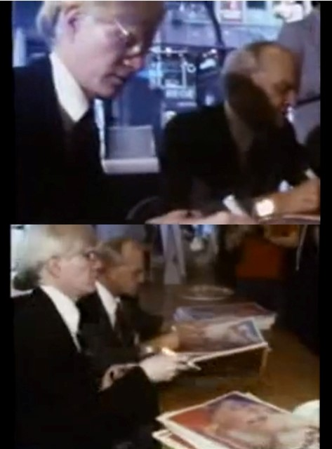 Andy Warhol & Truman Capote signing and selling Interview Magazine at Fiorucci store NYC, 1977