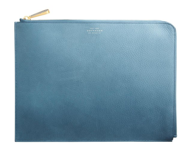 Smythson Eliot Pouch in Prussian Blue