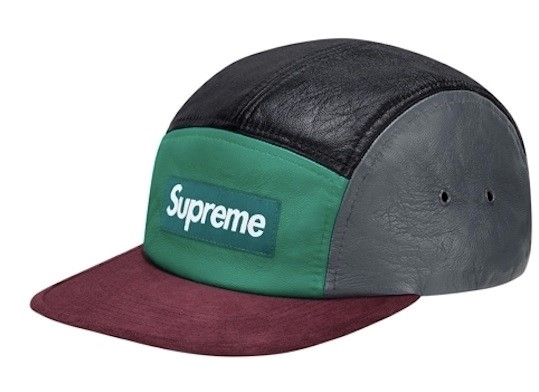 SUPREME LEATHER AND SUEDE CAMP CAP