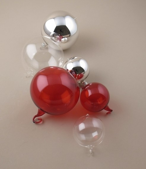 Mouth blown glass baubles