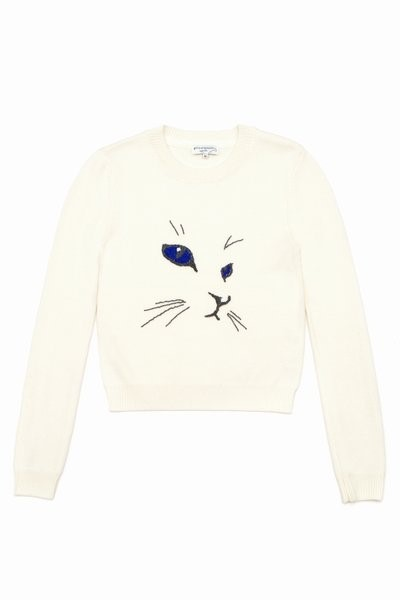 Merino Cat Embroidered Sweater by Opening Ceremony