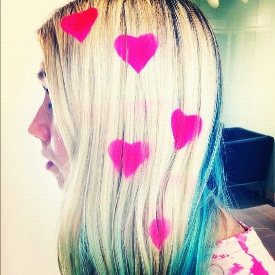 HEART STENCILLED HAIR
