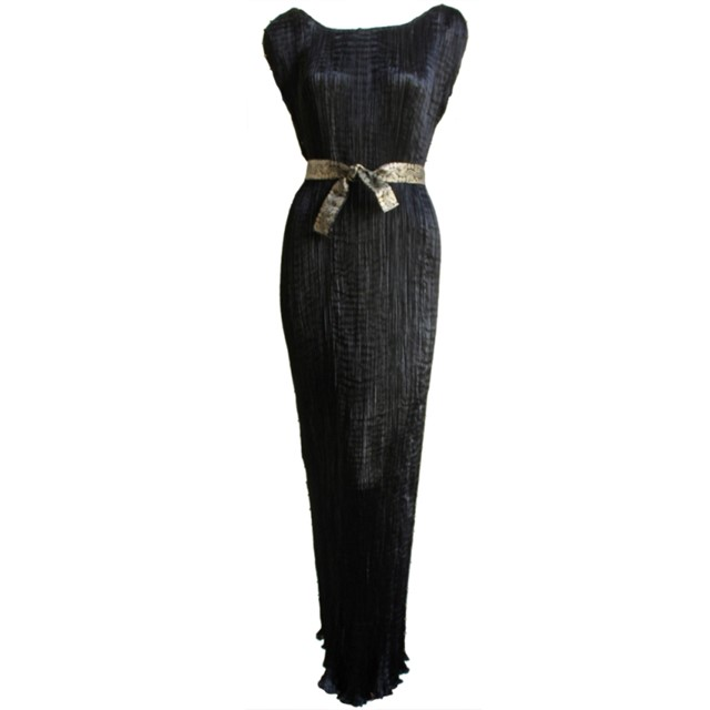 1920's MARIANO FORTUNY pleated black silk DELPHOS gown