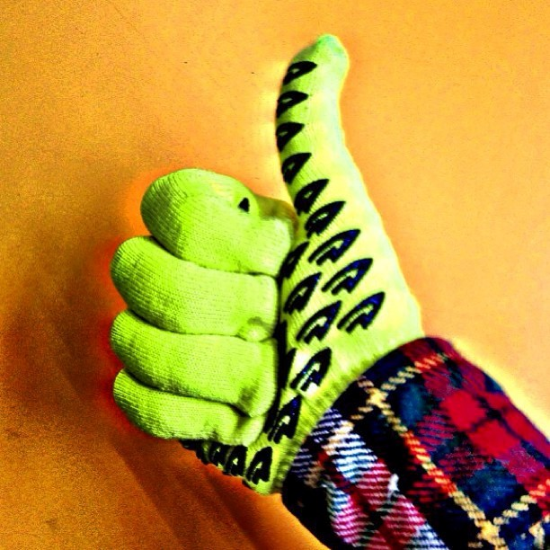 DeFeet Neon Yellow Biking Gloves