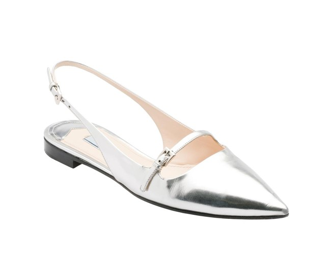 Pointed Silver Ballerinas by Prada
