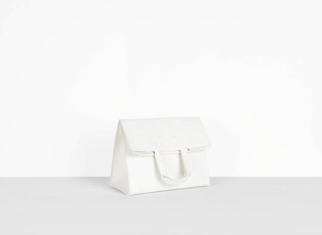 Maison Martin Margiela white leather shopping bag Défilé A/W12