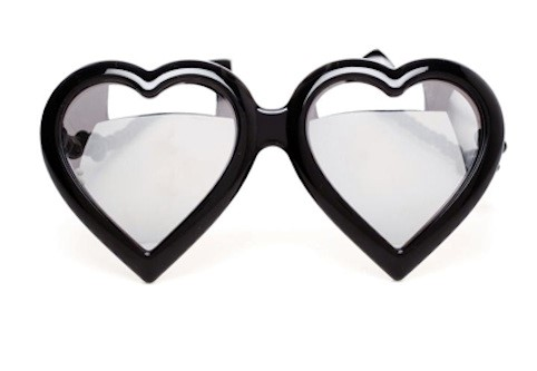 JEREMY SCOTT MIRROR HEART SUNGLASSES