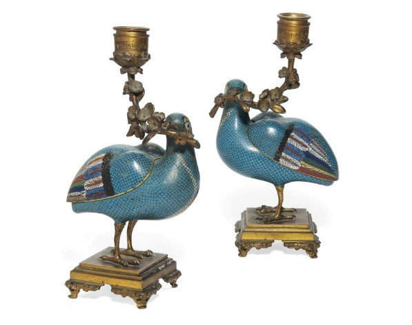 A Pair of Chinese Cloisonné Enamel Standing Quails, Mounted as Candelabra (Late 18th Century)