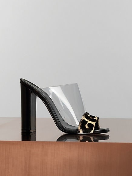 Céline, 115mm Optic Mule in Leopard Pony Calfskin and Neutral Vinyl