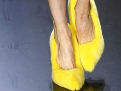 Céline SS13 yellow fur shoes