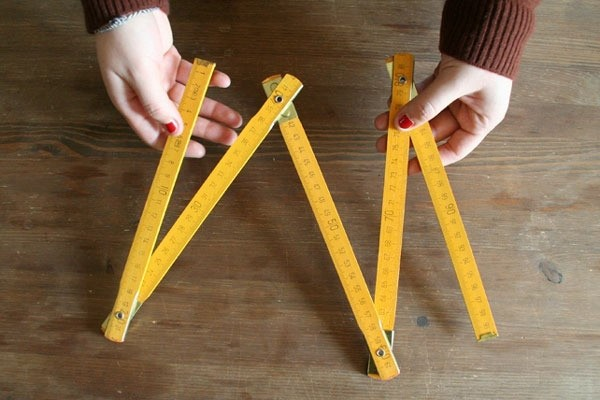 Canary yellow wooden ruler