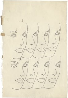 "Andy Warhol's ""Face repeated eight times"", circa 1958."