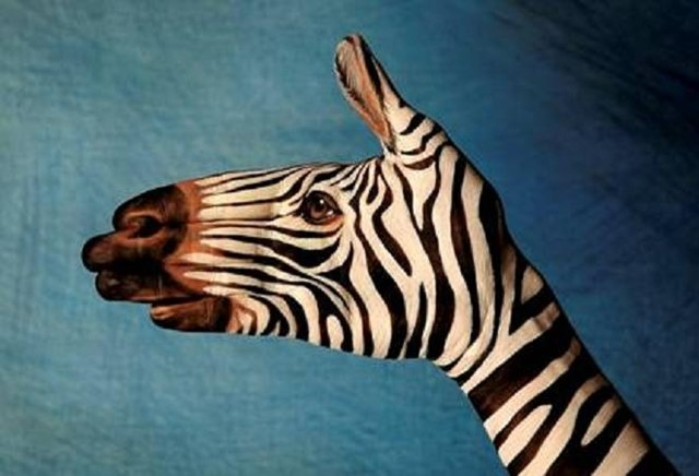 Zebra hand art by Guido Daniele