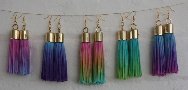 Lizzie King Tropical Dip Dyed Tassel Earrings