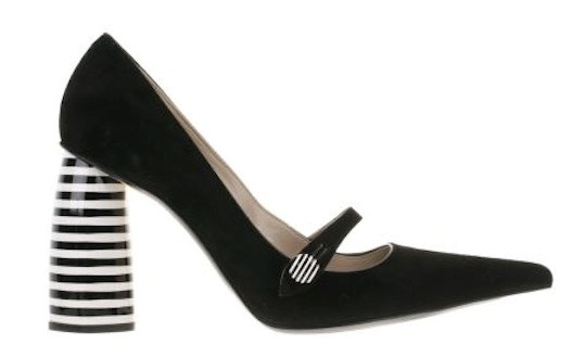 MARC JACOBS STRIPE CYLINDER HEEL MARY JANES