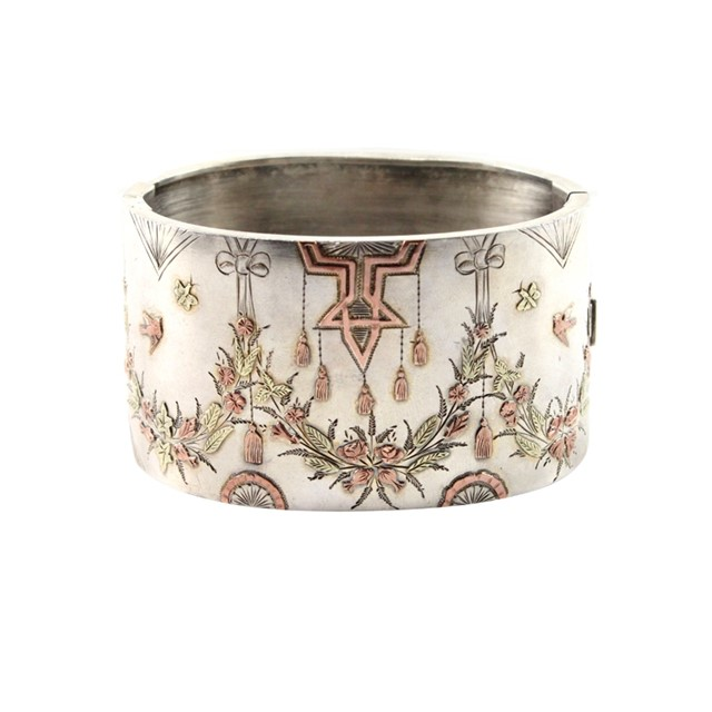 Victorian Rose Gold & Gold Overlay Silver Cuff