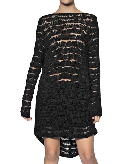 Ann Demeulemeester striped viscose knit dress