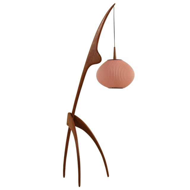 Rispal Mante Religuese Floorlamp With Large Pink Shade