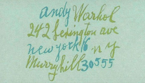 Andy Warhol's business card