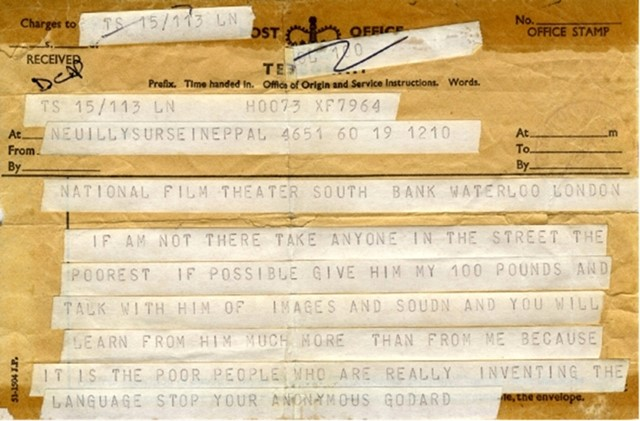 Telegram from Jean Luc Godard to the BFI, 1968