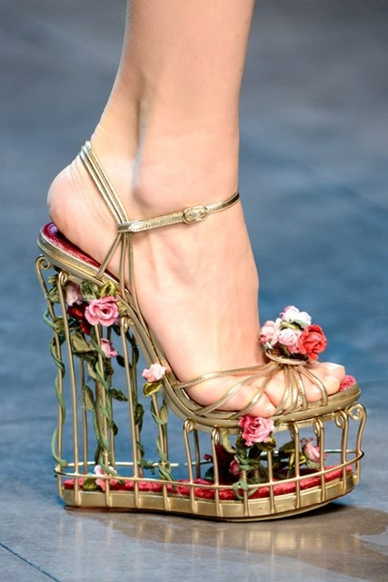 Dolce & Gabbana floral cage heels