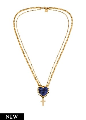 Studded Lapis Heart Case Necklace