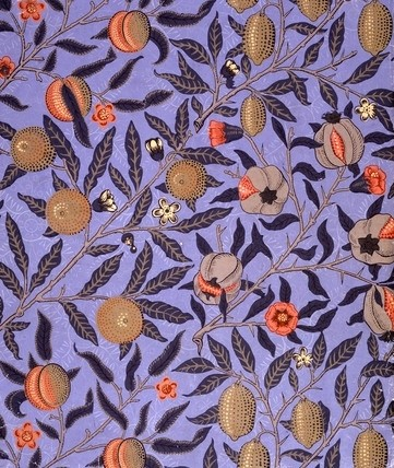 'Fruit' (Pomegranate) Wallpaper in Blue, William Morris 1866